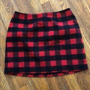 Red & black plaid mini skirt